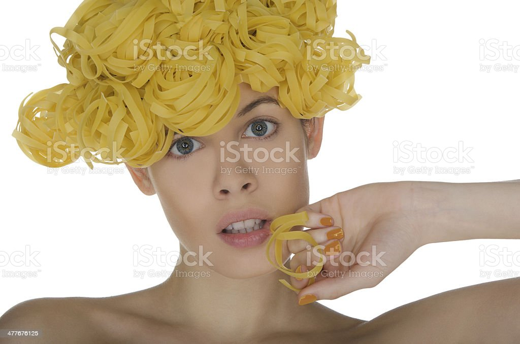 Portrait of woman with a spiral noodle royalty-free stock photo
