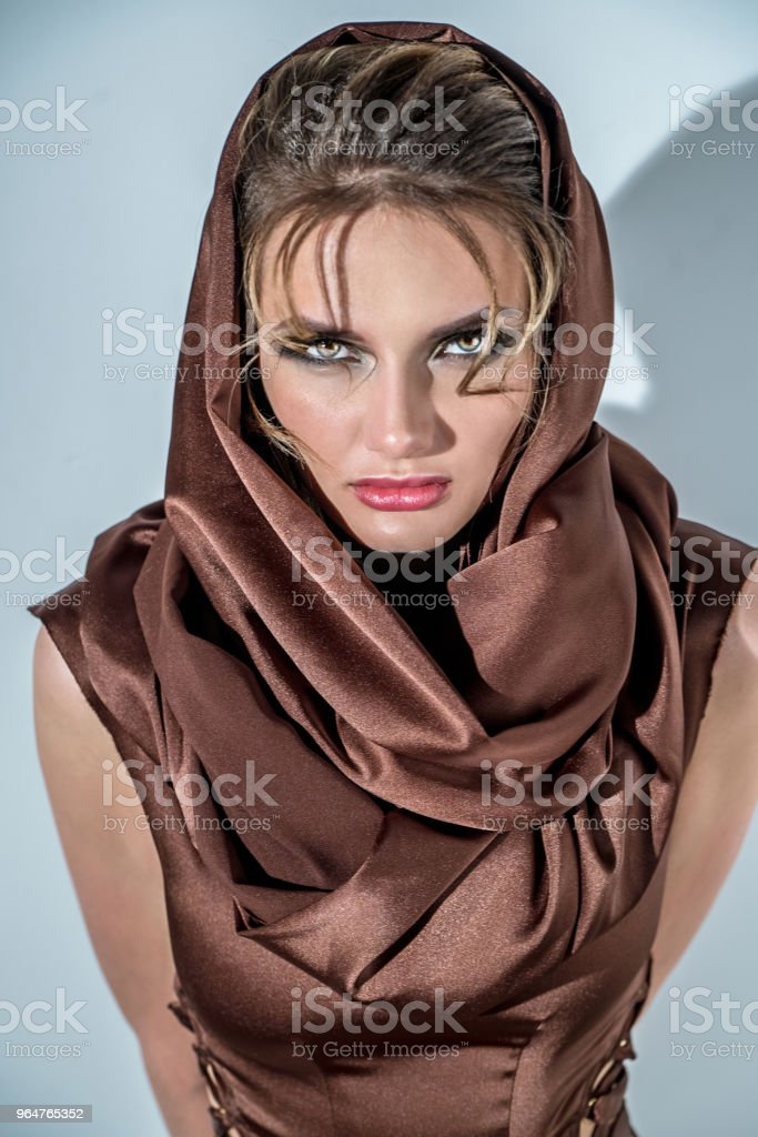 Portrait of woman with brown shawl royalty-free stock photo