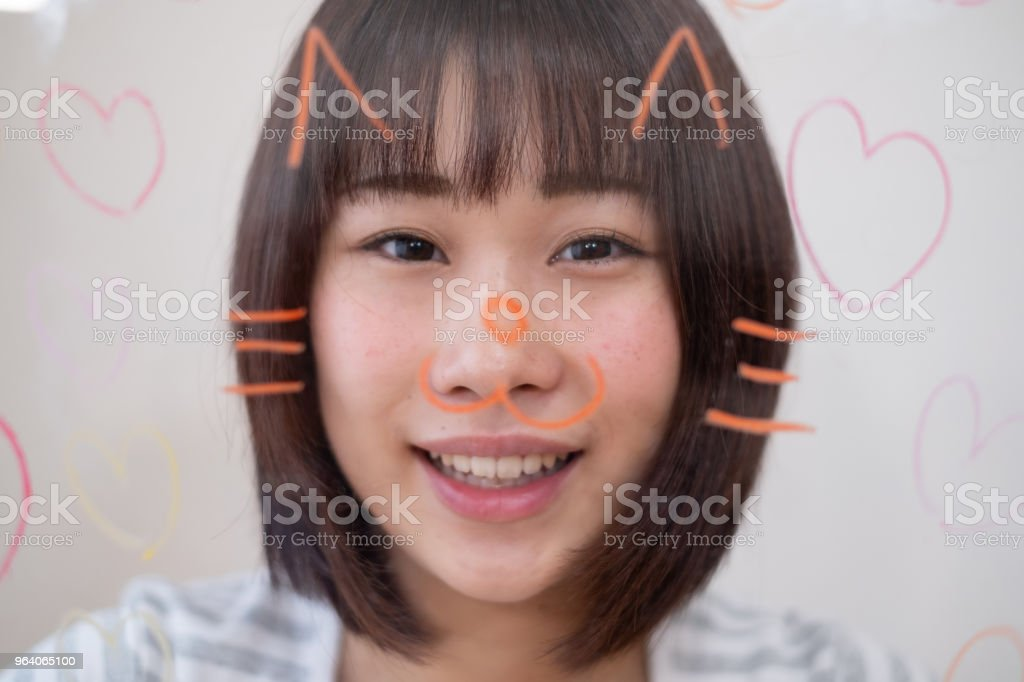 portrait of woman with cat illustration - Royalty-free 25-29 Years Stock Photo