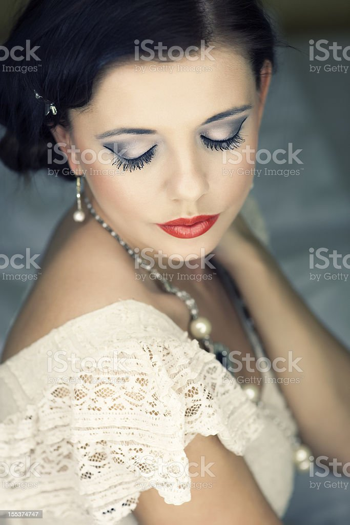Portrait Of Woman With Closed Eyes royalty-free stock photo