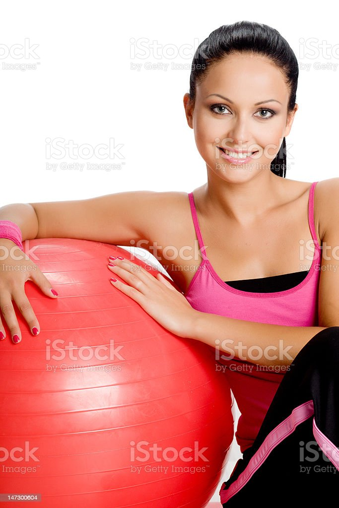 POrtrait of woman with fitness ball royalty-free stock photo