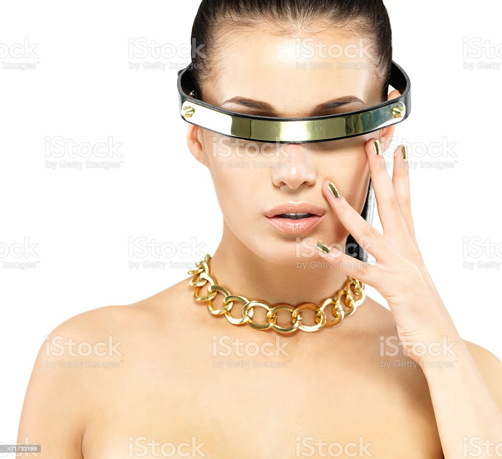 portrait of woman with golden nails and gold chain royalty-free stock photo