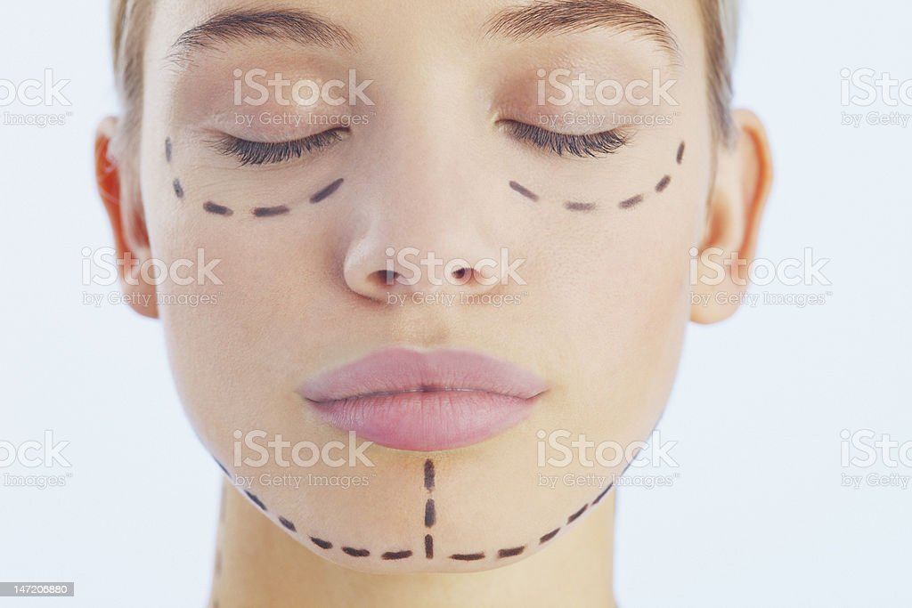 Portrait of woman with lines on her face stock photo