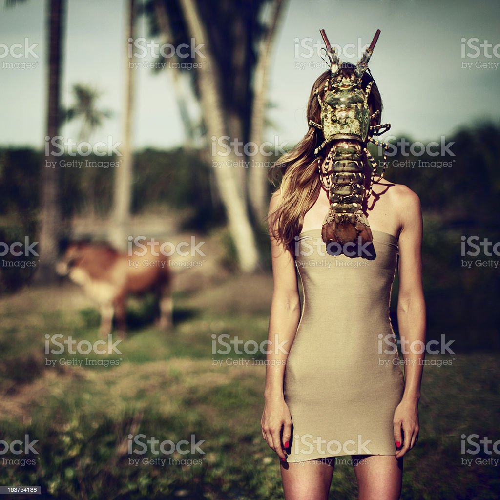Portrait of Woman with Lobster stock photo
