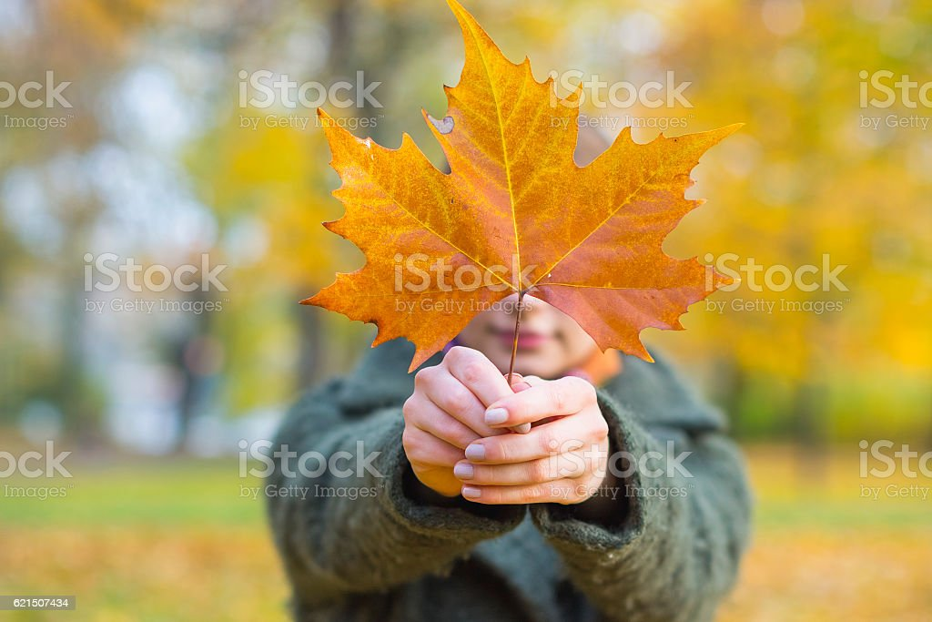 Portrait Of Woman With Maple Leaf Lizenzfreies stock-foto
