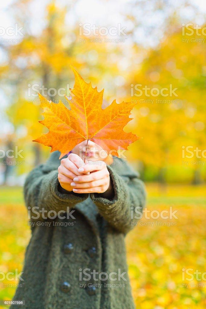 Portrait Of Woman With Maple Leaf photo libre de droits