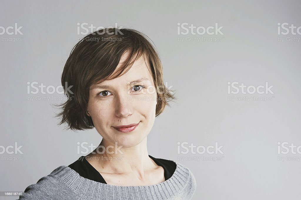 Portrait of woman with short hair stock photo