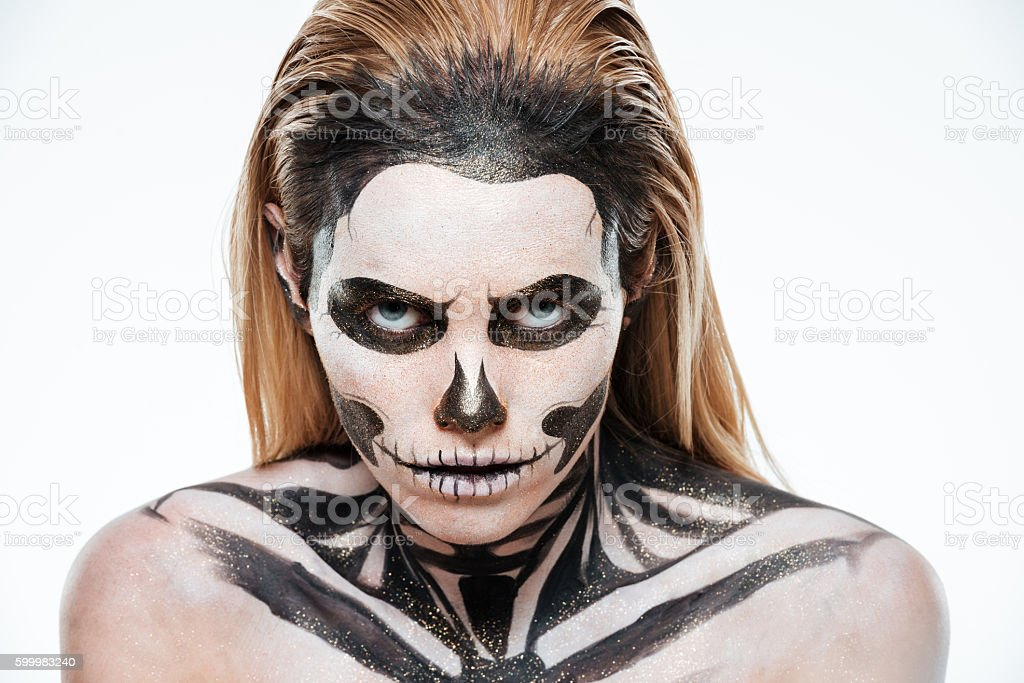 portrait of woman with terrifying halloween makeup royalty free stock photo