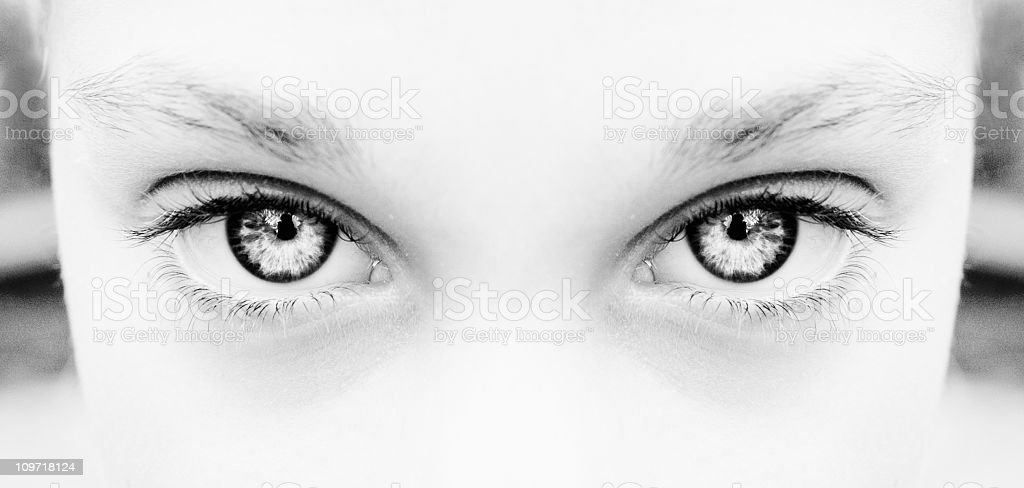 Portrait of Woman's Eyes, Black and WHite royalty-free stock photo