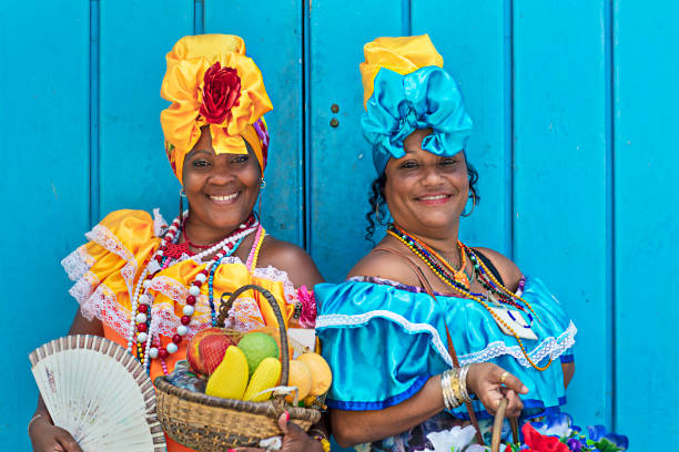 Portrait of women in Cuban traditional dresses stock photo