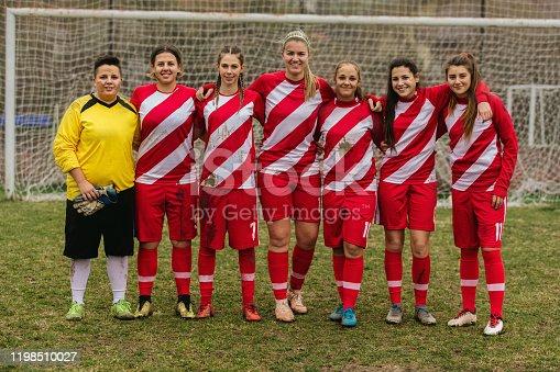 Portrait of female soccer team outdoors.
