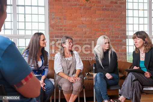 A portrait of a women's suport group having a discussion.