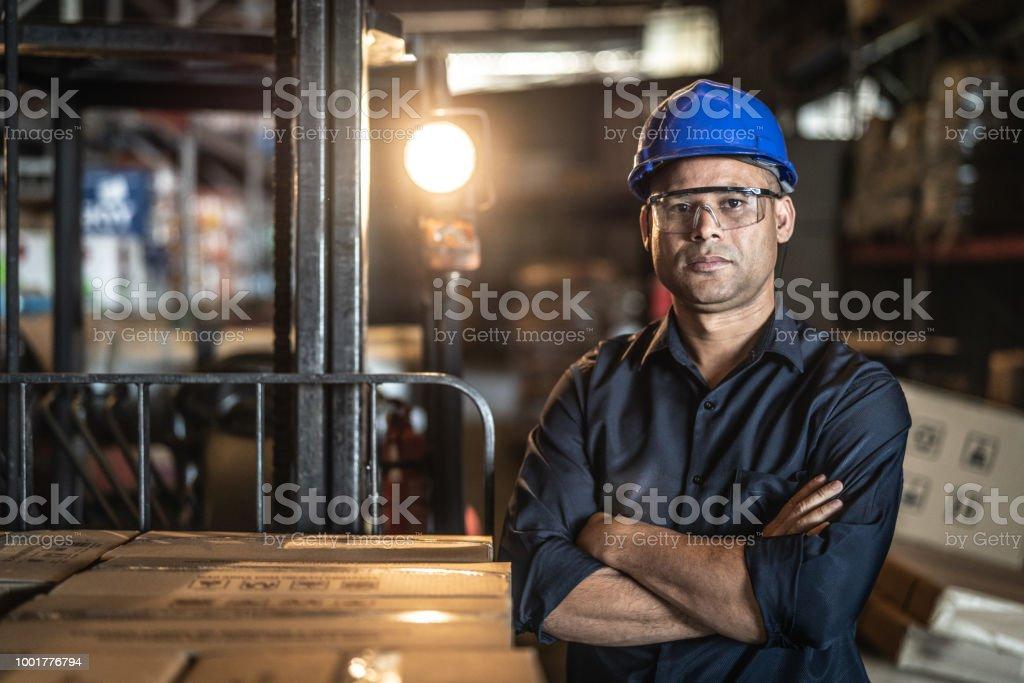 Portrait of Worker stock photo