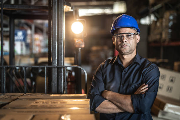Portrait of Worker stock photo