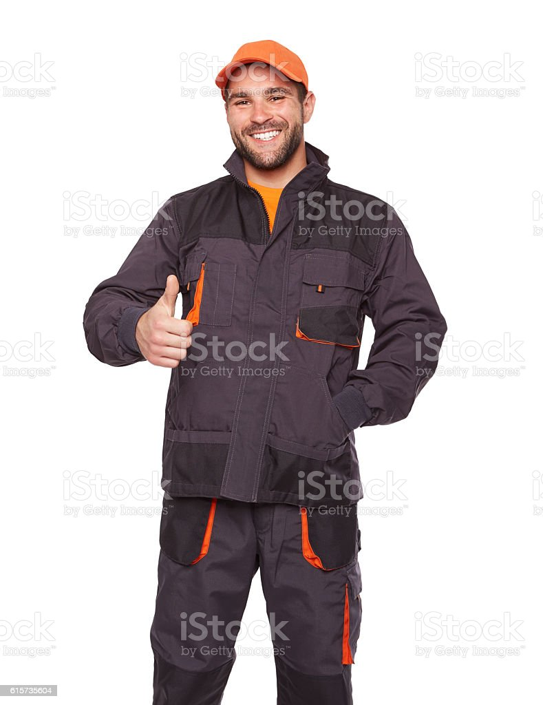 Portrait of worker with thumb up stock photo