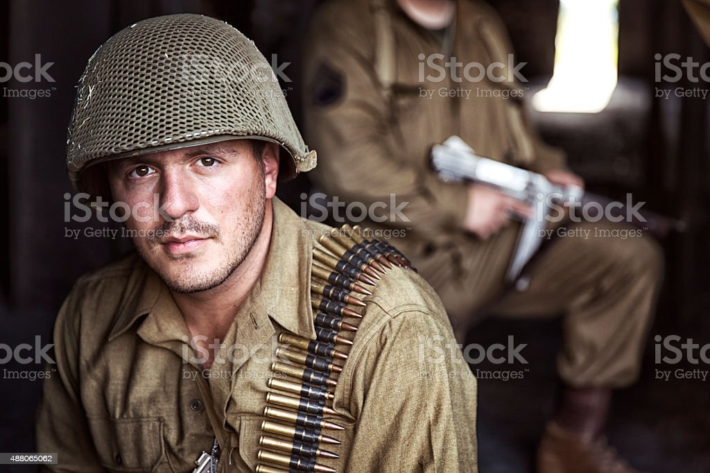 Portrait of World War II United States Army Soldier stock photo