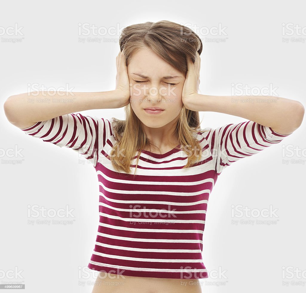Portrait of worried girl reacting to bad news royalty-free stock photo