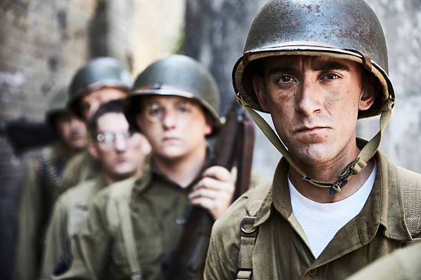 portrait of ww ll soldiers. - world war ii stock photos and pictures