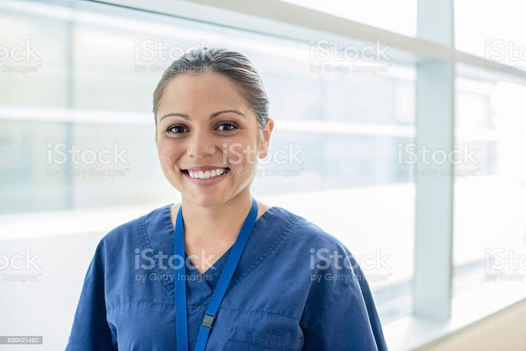 Portrait of young Aboriginal Australian doctor in hospital stock photo