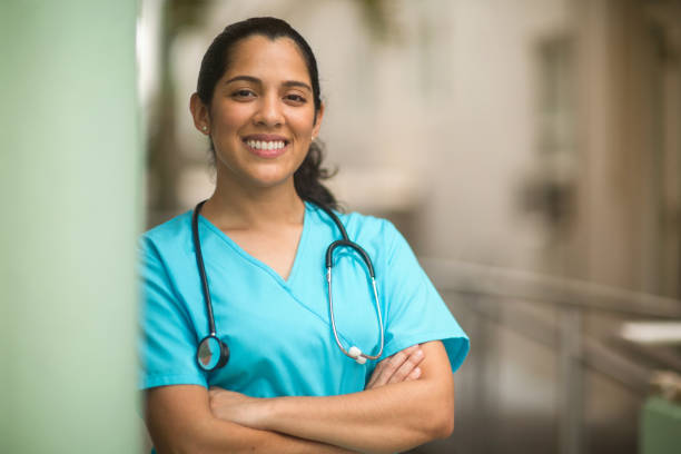Portrait of young adult female healthcare professional stock photo stock photo