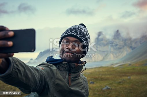 Young man posing in icelandic wilderness