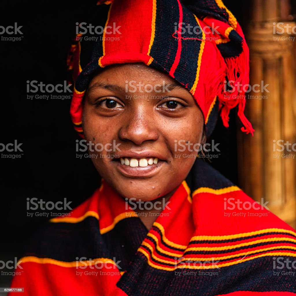 Portrait of young African woman, East Africa stock photo