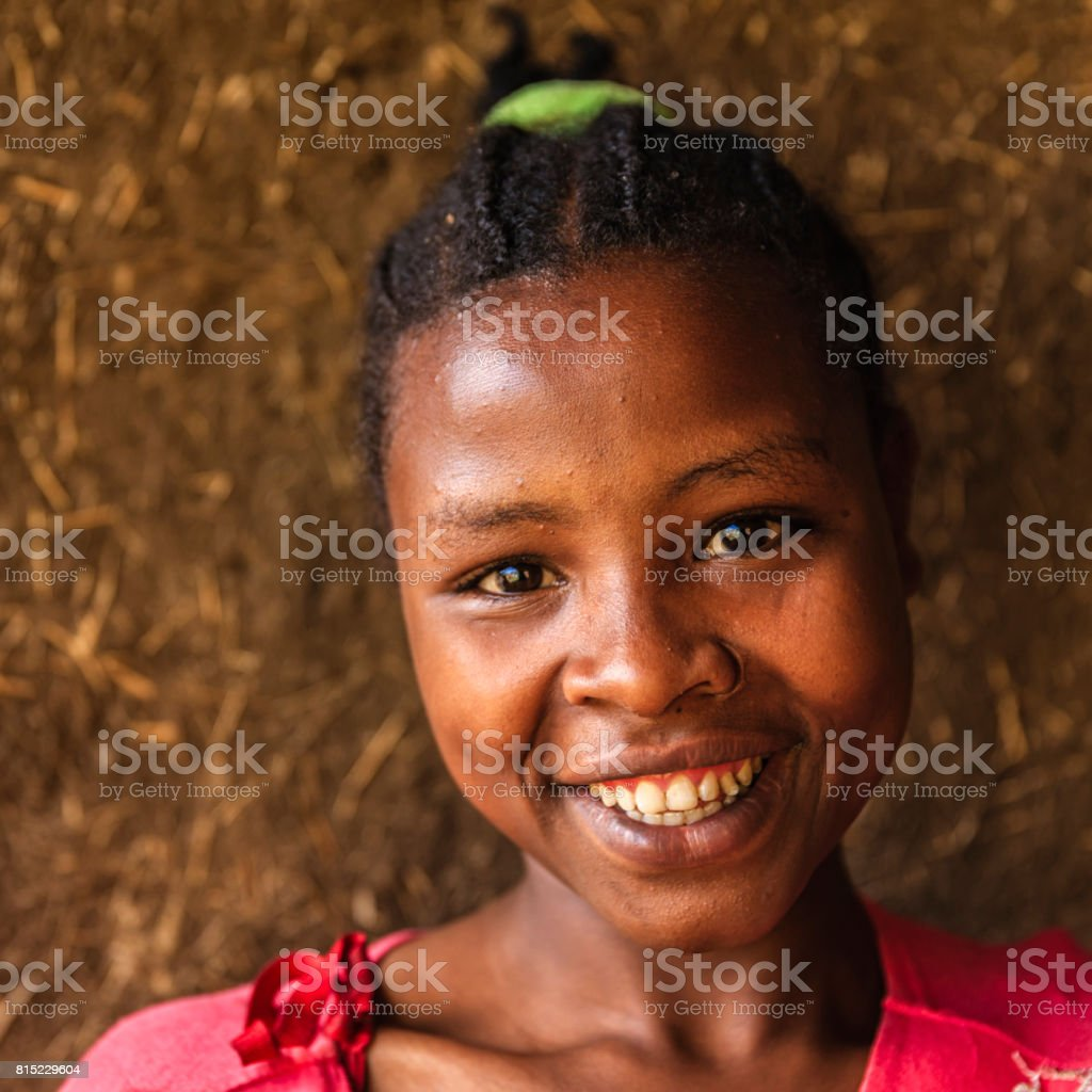 Portrait of young African woman, southern Ethiopia, Africa stock photo