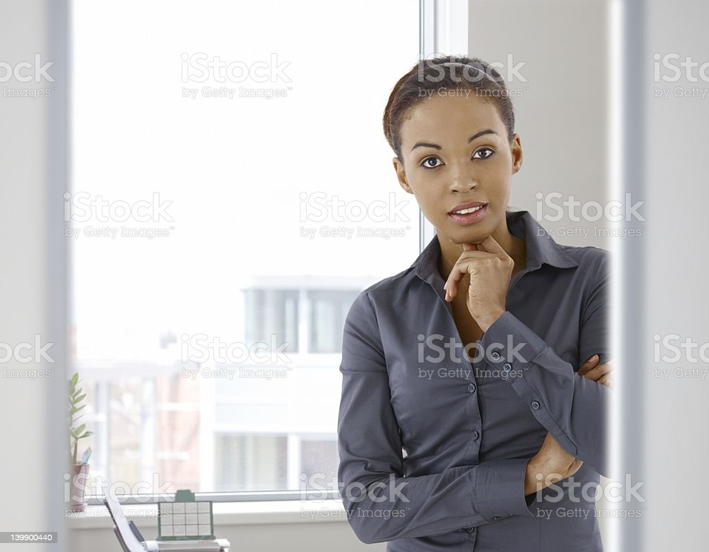 Portrait of young afro-american woman in office royalty-free stock photo