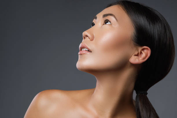 Portrait of young and beautiful asian model stock photo