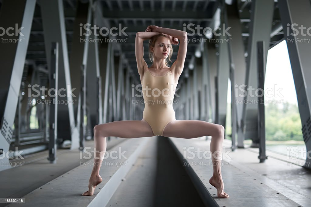 Portrait of young and graceful ballerina stock photo