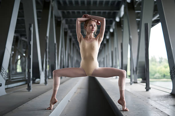 portrait of young and graceful ballerina - leotard stock pictures, royalty-free photos & images
