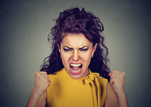 Portrait Of Young Angry Woman Screaming Stock Photo ...