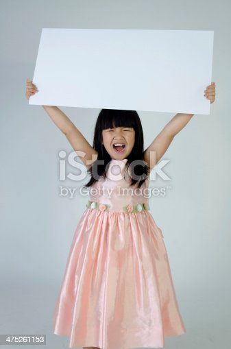 933380808istockphoto Portrait of young Asian girl holding blank billboard 475261153