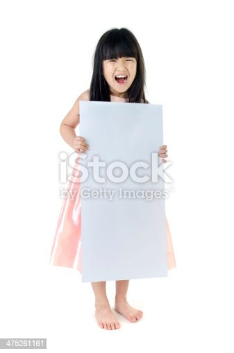 933380808istockphoto Portrait of young Asian girl holding blank billboard 475261161