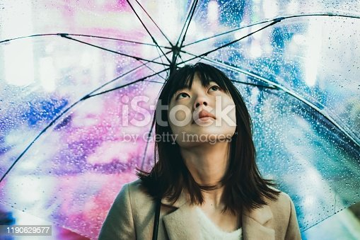 Asian young woman is having an umbrella under the rain in the night.
