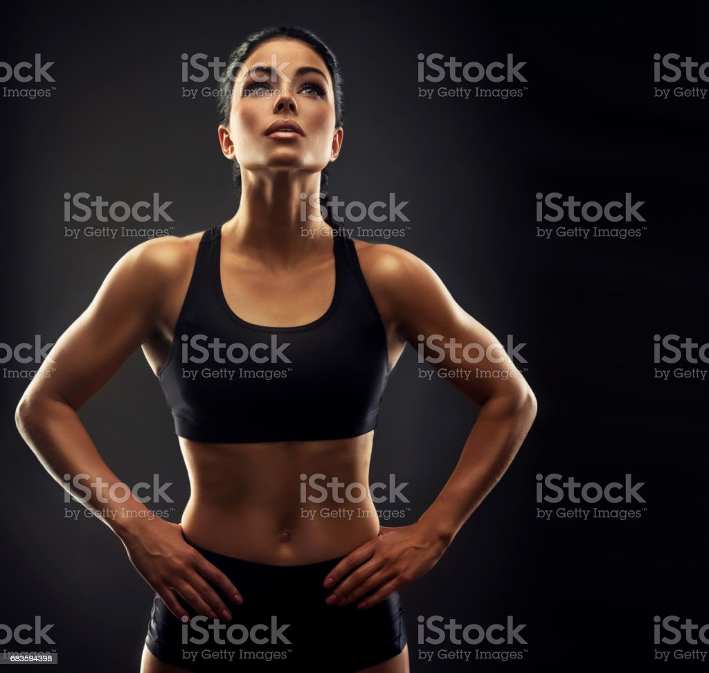 Portrait of young, athletic woman in sport outfit. Fitness, Workout,Bodybuilding, Gym. stock photo
