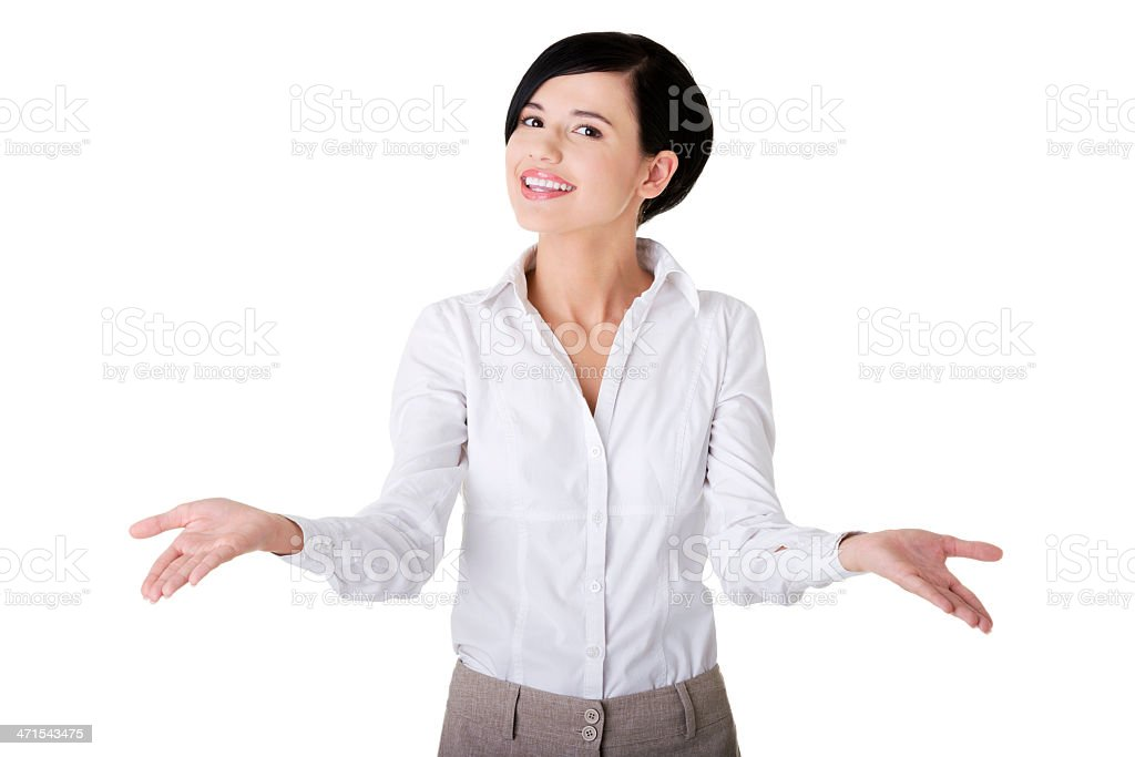 Portrait of young attractive business woman. stock photo