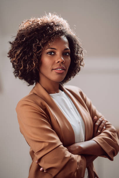 Portrait of young beautiful african american woman stock photo