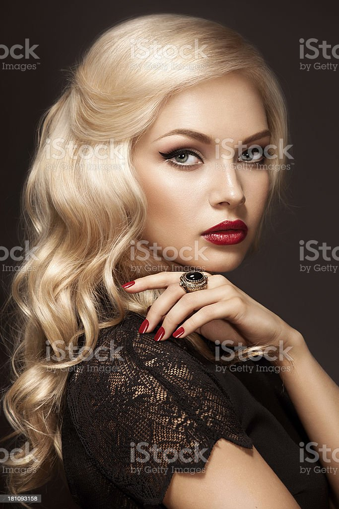 Portrait of young beautiful blonde stock photo