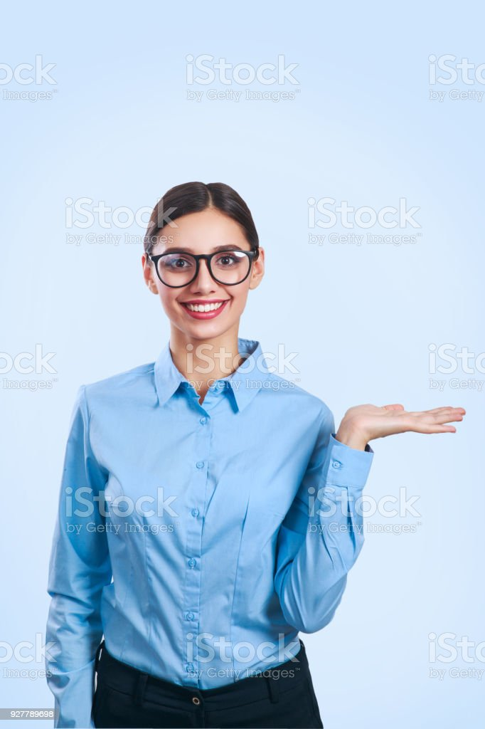 Portrait of young beautiful business woman in glasses. stock photo
