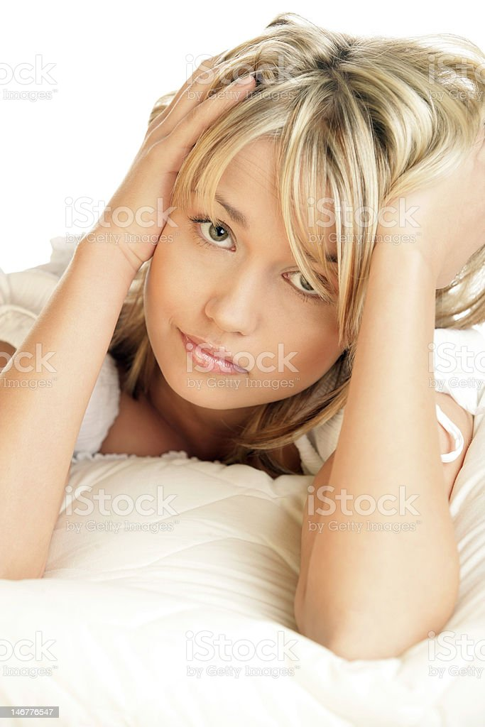 Portrait of young beautiful sad woman royalty-free stock photo