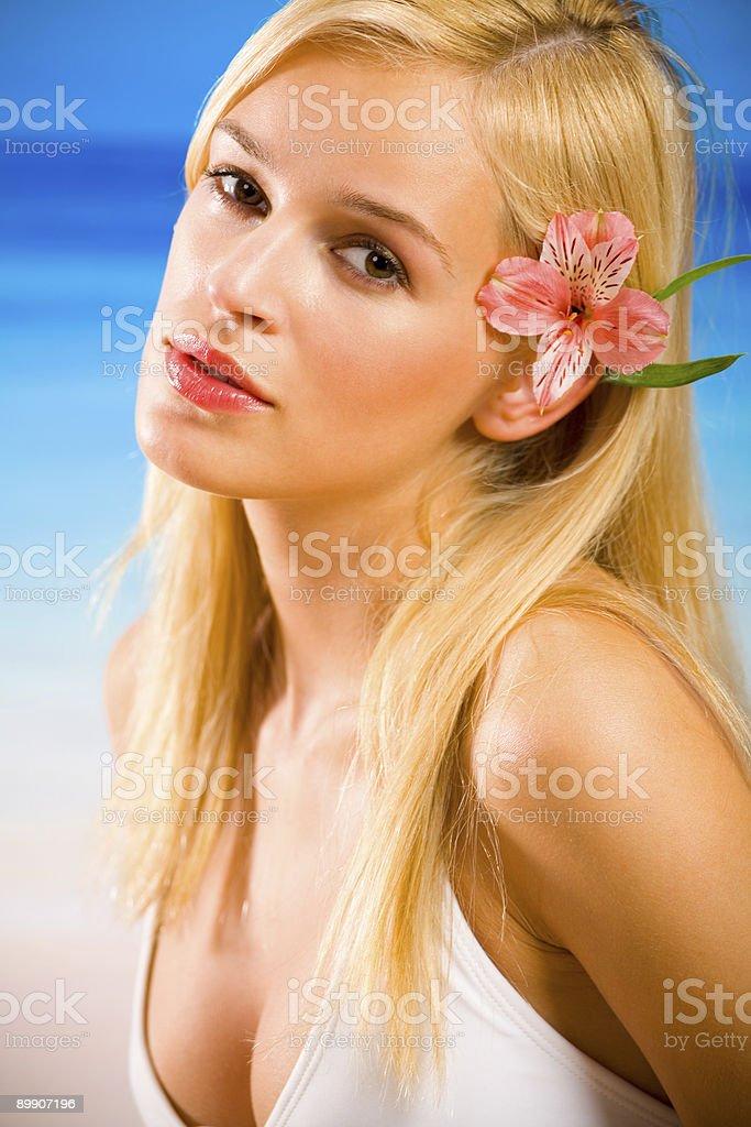 Portrait of young beautiful sexy woman in bikini on beach royalty-free stock photo