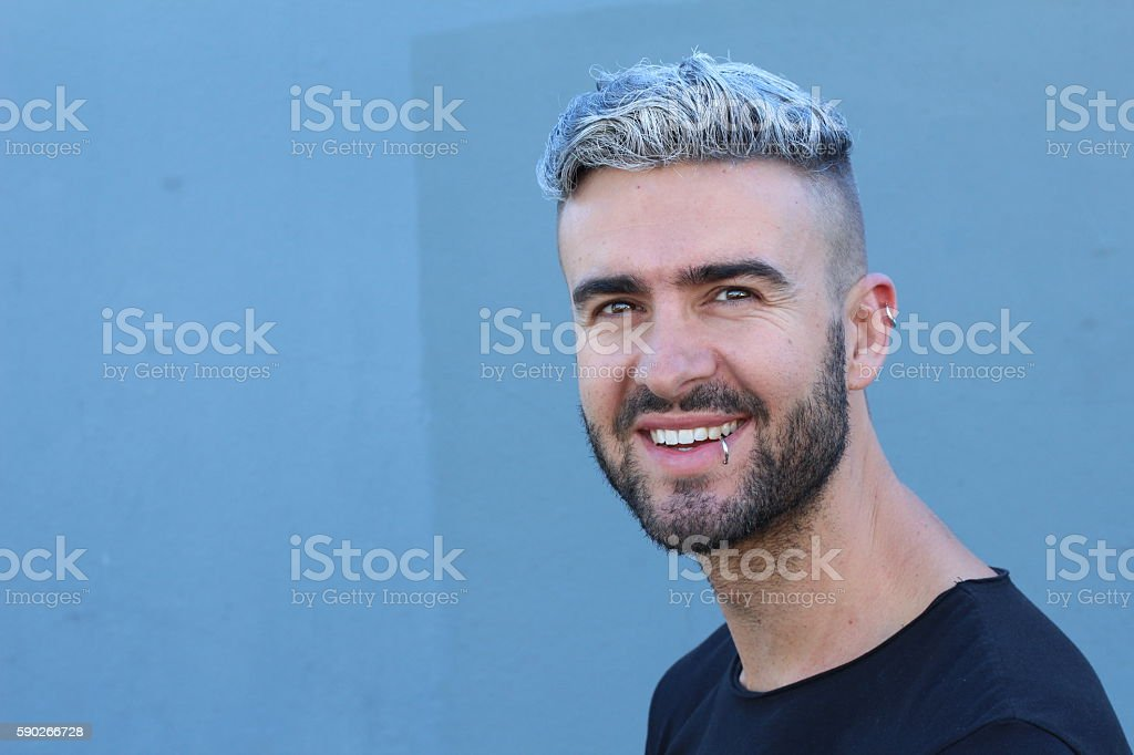 Portrait of young beautiful whitehead smiling stock photo