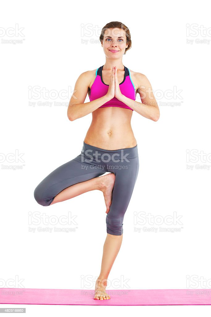 Portrait of young beautiful woman doing yoga - isolated. stock photo