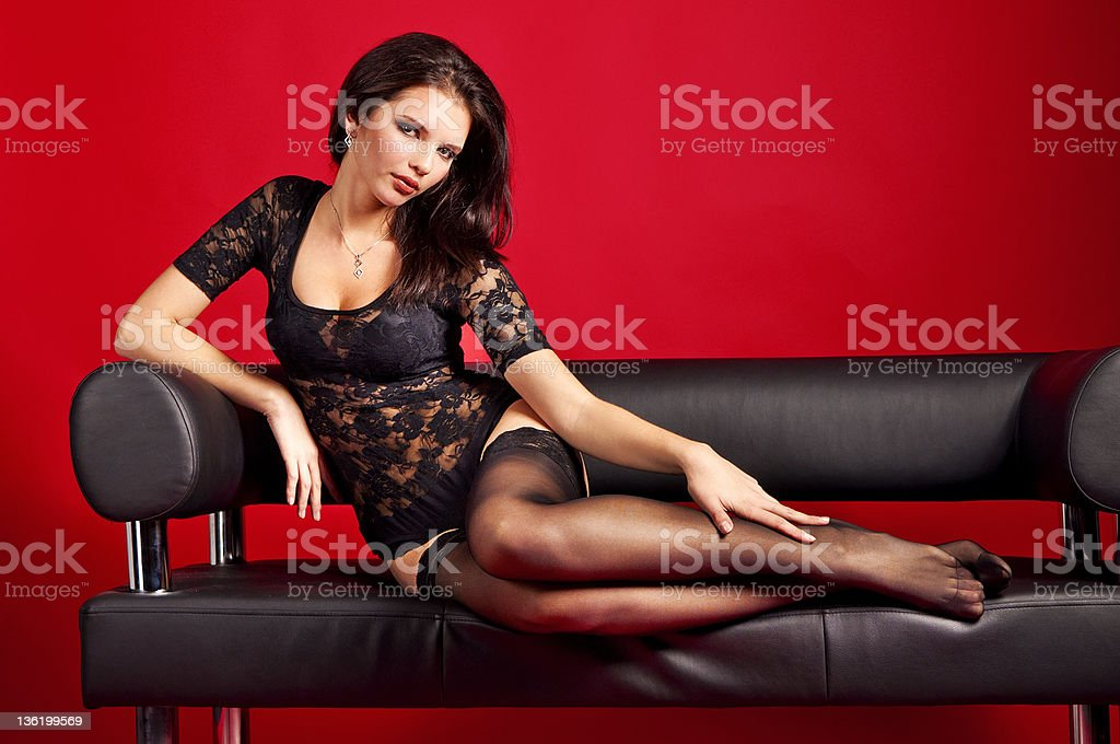 Portrait of young beautiful woman in lingerie royalty-free stock photo