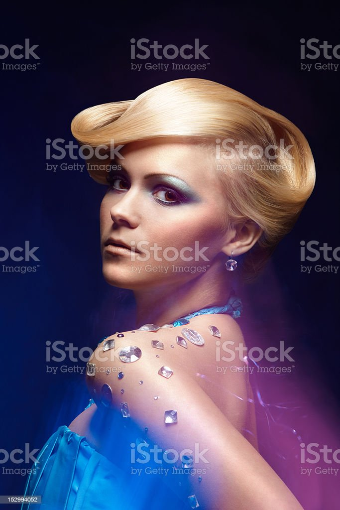 Portrait of young beautiful woman stock photo