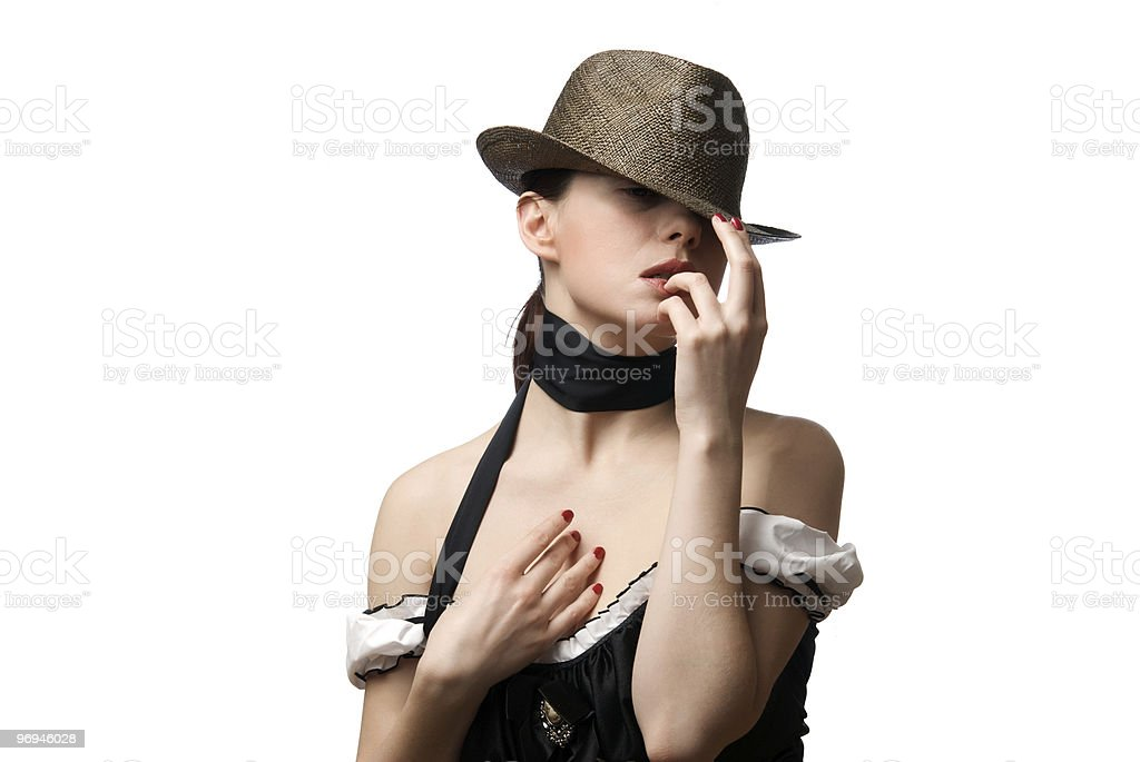 Portrait of young beautiful woman wearing hat royalty-free stock photo