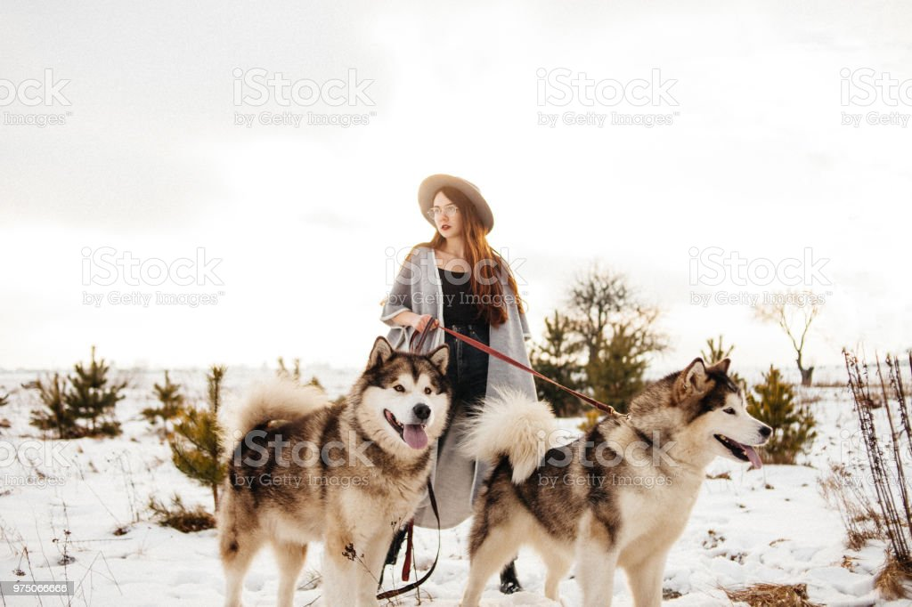 Young beautiful woman is walking with two dogs