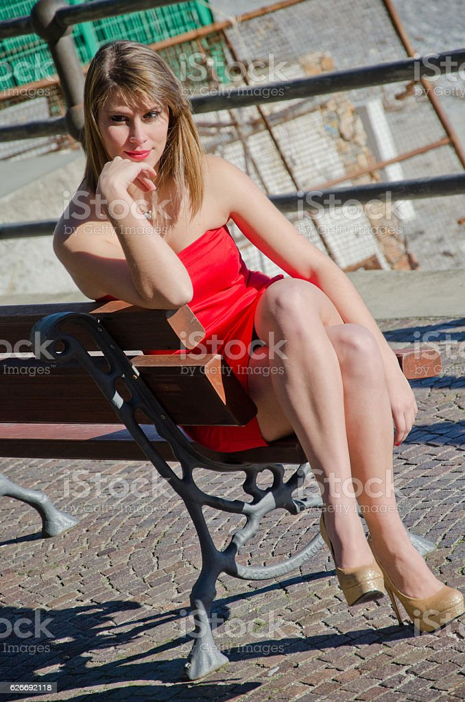 portrait of young blonde girl stock photo
