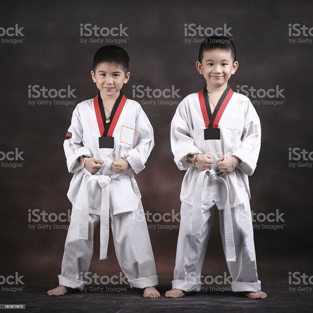 portrait of  young boy doing karate moves stock photo
